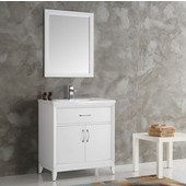Cambridge 30'' White Traditional Bathroom Vanity with Mirror, Dimensions of Vanity: 30'' W x 18-5/16'' D x 33-2/5'' H