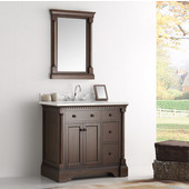 Kingston 36'' Antique Coffee Traditional Bathroom Vanity with Mirror, Dimensions of Vanity: 37'' W x 22'' D x 38'' H