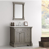 Kingston 36'' Antique Silver Traditional Bathroom Vanity with Mirror, Dimensions of Vanity: 37'' W x 22'' D x 38'' H