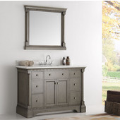 Kingston 48'' Antique Silver Traditional Bathroom Vanity with Mirror, Dimensions of Vanity: 49'' W x 22'' D x 38'' H