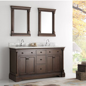 Kingston 60'' Antique Coffee Double Sink Traditional Bathroom Vanity with Mirrors, Dimensions of Vanity: 61'' W x 22'' D x 38'' H