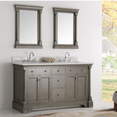Kingston 60'' Antique Silver Double Sink Traditional Bathroom Vanity with Mirrors, Dimensions of Vanity: 61'' W x 22'' D x 38'' H