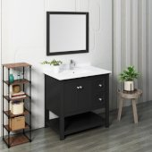 Manchester 36'' Black Traditional Bathroom Vanity Set w/ Mirror, Vanity: 36'' W x 20-2/5'' D x 34-4/5'' H