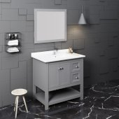 Manchester 36'' Gray Traditional Bathroom Vanity Set w/ Mirror, Vanity: 36'' W x 20-2/5'' D x 34-4/5'' H