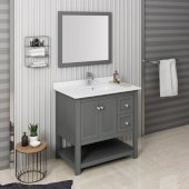 Manchester Regal 36'' Gray Wood Veneer Traditional Bathroom Vanity Set w/ Mirror, Vanity: 36'' W x 20-2/5'' D x 34-4/5'' H
