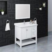 Manchester 36'' White Traditional Bathroom Vanity Set w/ Mirror, Vanity: 36'' W x 20-2/5'' D x 34-4/5'' H
