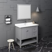 Manchester 42'' Gray Traditional Bathroom Vanity Set w/ Mirror, Vanity: 42'' W x 20-2/5'' D x 34-4/5'' H