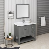Manchester Regal 42'' Gray Wood Veneer Traditional Bathroom Vanity Set w/ Mirror, Vanity: 42'' W x 20-2/5'' D x 34-4/5'' H