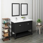 Manchester 48'' Black Traditional Double Sink Bathroom Vanity Set w/ Mirrors, Vanity: 48'' W x 20-2/5'' D x 34-4/5'' H