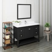 Manchester 48'' Black Traditional Bathroom Vanity Set w/ Mirror, Vanity: 48'' W x 20-2/5'' D x 34-4/5'' H
