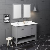 Manchester 48'' Gray Traditional Double Sink Bathroom Vanity Set w/ Mirrors, Vanity: 48'' W x 20-2/5'' D x 34-4/5'' H