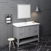 Manchester 48'' Gray Traditional Bathroom Vanity Set w/ Mirror, Vanity: 48'' W x 20-2/5'' D x 34-4/5'' H