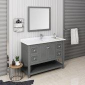 Manchester Regal 48'' Gray Wood Veneer Traditional Bathroom Vanity Set w/ Mirror, Vanity: 48'' W x 20-2/5'' D x 34-4/5'' H