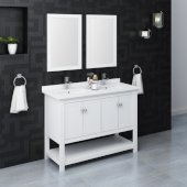 Manchester 48'' White Traditional Double Sink Bathroom Vanity Set w/ Mirrors, Vanity: 48'' W x 20-2/5'' D x 34-4/5'' H