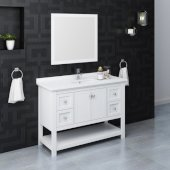 Manchester 48'' White Traditional Bathroom Vanity Set w/ Mirror, Vanity: 48'' W x 20-2/5'' D x 34-4/5'' H