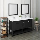 Manchester 60'' Black Traditional Double Sink Bathroom Vanity Set w/ Mirrors, Vanity: 60'' W x 20-2/5'' D x 34-4/5'' H