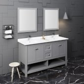 Manchester 60'' Gray Traditional Double Sink Bathroom Vanity Set w/ Mirrors, Vanity: 60'' W x 20-2/5'' D x 34-4/5'' H