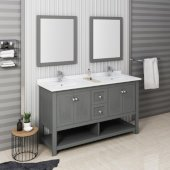 Manchester Regal 60'' Gray Wood Veneer Traditional Double Sink Bathroom Vanity Set w/ Mirrors, Vanity: 60'' W x 20-2/5'' D x 34-4/5'' H