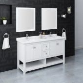 Manchester 60'' White Traditional Double Sink Bathroom Vanity Set w/ Mirrors, Vanity: 60'' W x 20-2/5'' D x 34-4/5'' H