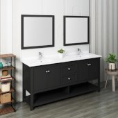 Manchester 72'' Black Traditional Double Sink Bathroom Vanity Set w/ Mirrors, Vanity: 72'' W x 20-2/5'' D x 34-4/5'' H