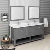 Manchester Regal 72'' Gray Wood Veneer Traditional Double Sink Bathroom Vanity Set w/ Mirrors, Vanity: 72'' W x 20-2/5'' D x 34-4/5'' H