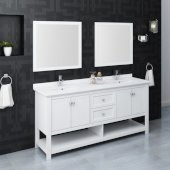 Manchester 72'' White Traditional Double Sink Bathroom Vanity Set w/ Mirrors, Vanity: 72'' W x 20-2/5'' D x 34-4/5'' H