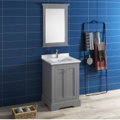 Windsor 24'' Gray Textured Traditional Bathroom Vanity Set w/ Mirror, Base Cabinet: 24'' W x 20-3/8'' D x 34-5/16'' H