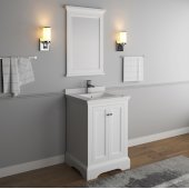 Windsor 24'' Matte White Traditional Bathroom Vanity Set w/ Mirror, Base Cabinet: 24'' W x 20-3/8'' D x 34-5/16'' H