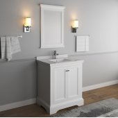 Windsor 30'' Matte White Traditional Bathroom Vanity Set w/ Mirror, Base Cabinet: 30'' W x 20-3/8'' D x 34-5/16'' H