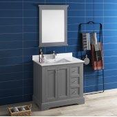 Windsor 36'' Gray Textured Traditional Bathroom Vanity Set w/ Mirror, Base Cabinet: 36'' W x 20-3/8'' D x 34-5/16'' H