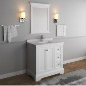 Windsor 36'' Matte White Traditional Bathroom Vanity Set w/ Mirror, Base Cabinet: 36'' W x 20-3/8'' D x 34-5/16'' H