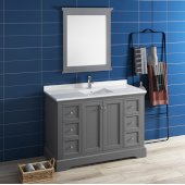 Windsor 48'' Gray Textured Traditional Bathroom Vanity Set w/ Mirror, Base Cabinet: 48'' W x 20-3/8'' D x 34-5/16'' H