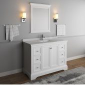 Windsor 48'' Matte White Traditional Bathroom Vanity Set w/ Mirror, Base Cabinet: 48'' W x 20-3/8'' D x 34-5/16'' H