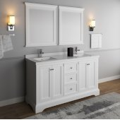 Windsor 60'' Matte White Traditional Double Sink Bathroom Vanity Set w/ Mirrors, Base Cabinet: 60'' W x 20-3/8'' D x 34-5/16'' H