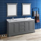 Windsor 72'' Gray Textured Traditional Double Sink Bathroom Vanity Set w/ Mirrors, Base Cabinet: 72'' W x 20-3/8'' D x 34-5/16'' H
