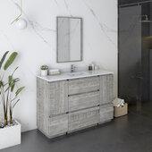 Formosa 48'' Floor Standing Modern Bathroom Vanity Set w/ Mirror in Ash Finish, Base Cabinet: 48'' W x 20-3/8'' D x 34-7/8'' H
