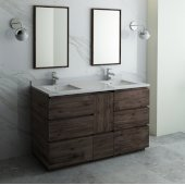 Formosa 60'' Floor Standing Double Sink Modern Bathroom Vanity Set w/ Mirrors, Base Cabinet: 60'' W x 20-3/8'' D x 34-7/8'' H