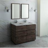Formosa 48'' Floor Standing Double Sink Modern Bathroom Vanity Set w/ Mirrors, Base Cabinet: 48'' W x 20-3/8'' D x 34-7/8'' H, 6 Drawers