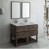 Formosa 48'' Floor Standing Double Sink Modern Bathroom Vanity Set w/ Open Bottom & Mirrors, Base Cabinet: 48'' W x 20-3/8'' D x 34-7/8'' H, 4 Drawers