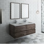 Formosa 48'' Wall Hung Double Sink Modern Bathroom Vanity Set w/ Mirrors, Base Cabinet: 48'' W x 20-3/8'' D x 20-5/16'' H, 4 Drawers