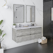 Formosa 48'' Wall Hung Double Sink Modern Bathroom Vanity Set w/ Mirrors in Ash Finish, Base Cabinet: 48'' W x 20-3/8'' D x 20-5/16'' H, 4 Drawers