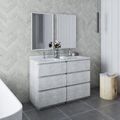 Formosa 48'' Floor Standing Double Sink Modern Bathroom Vanity Set w/ Mirrors in Rustic White Finish, Base Cabinet: 48'' W x 20-3/8'' D x 34-7/8'' H, 6 Drawers