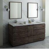 Formosa 72'' Floor Standing Double Sink Modern Bathroom Vanity Set w/ Mirrors, Base Cabinet: 72'' W x 20-3/8'' D x 34-7/8'' H
