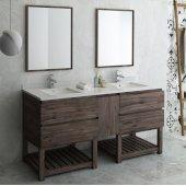 Formosa 72'' Floor Standing Double Sink Modern Bathroom Vanity Set w/ Open Bottom & Mirrors, Base Cabinet: 72'' W x 20-3/8'' D x 34-7/8'' H