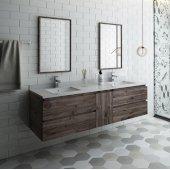Formosa 72'' Wall Hung Double Sink Modern Bathroom Vanity Set w/ Mirrors, Base Cabinet: 72'' W x 20-3/8'' D x 20-5/16'' H