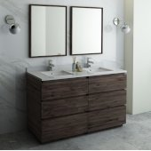 Formosa 60'' Floor Standing Double Sink Modern Bathroom Vanity Set w/ Mirrors, Base Cabinet: 60'' W x 20-3/8'' D x 34-7/8'' H, 6 Drawers