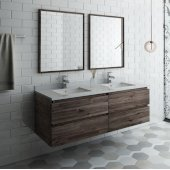 Formosa 60'' Wall Hung Double Sink Modern Bathroom Vanity Set w/ Mirrors, Base Cabinet: 60'' W x 20-3/8'' D x 20-5/16'' H, 4 Drawers