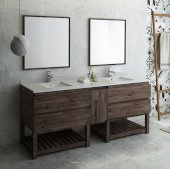 Formosa 84'' Floor Standing Double Sink Modern Bathroom Vanity Set w/ Open Bottom & Mirrors, Base Cabinet: 84'' W x 20-3/8'' D x 34-7/8'' H
