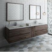 Formosa 84'' Wall Hung Double Sink Modern Bathroom Vanity Set w/ Mirrors, Base Cabinet: 84'' W x 20-3/8'' D x 20-5/16'' H