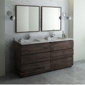 Formosa 72'' Floor Standing Double Sink Modern Bathroom Vanity Set w/ Mirrors, Base Cabinet: 72'' W x 20-3/8'' D x 34-7/8'' H, 6 Drawers